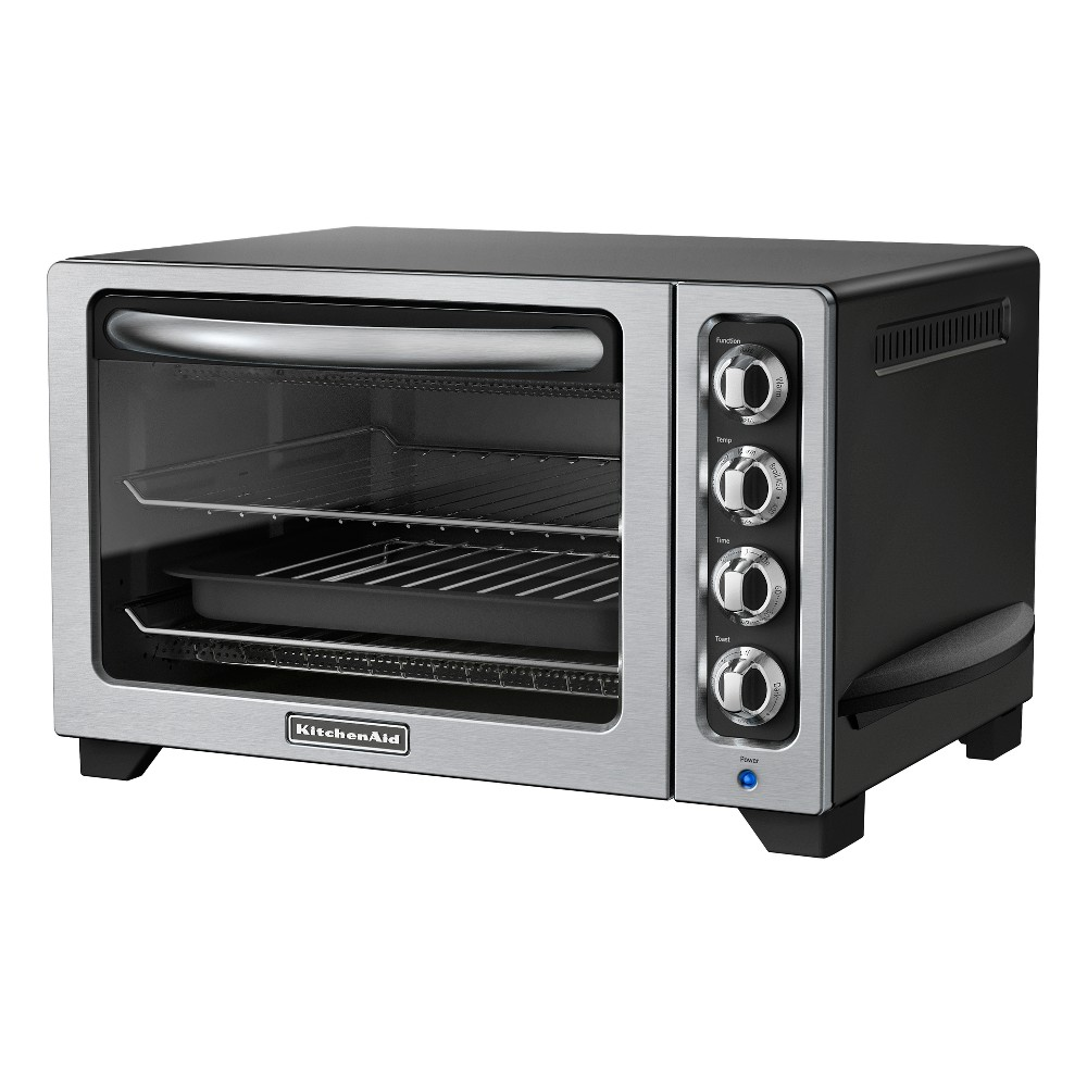 "KitchenAid 12 Countertop Oven - KCO222, Black Enjoy full-size oven performance on your kitchen counter with the KitchenAid 12"" Countertop Oven. It features a large oven cavity for baking a 12 frozen pizza or cornish hens. Toast up to six slices of bread at once to your desired shade of browning. The non-stick interior is easy to wipe clean. Color: Black."