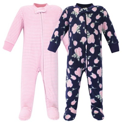Hudson Baby Infant Girl Fleece Zipper Sleep and Play 2pk, Navy Rose
