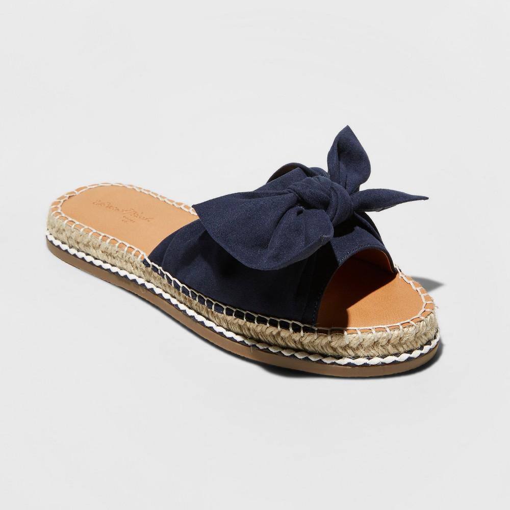 Women's Sigma Wide Width Bow Espadrille Sandals - Universal Thread Navy (Blue) 8W, Size: 8 Wide