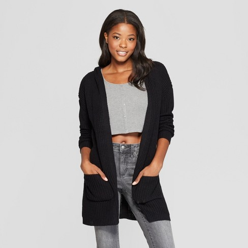58383ab1 Women's Long Sleeve Lace-Up Back Hooded Cardigan - Almost Famous (Juniors')  Black
