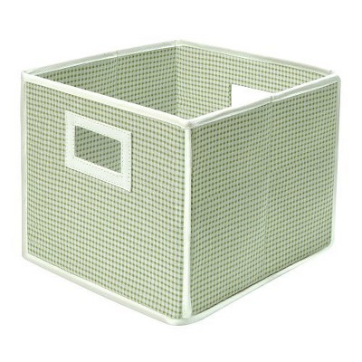 Badger Basket Fabric Cube   Gingham Sage by Badger Basket