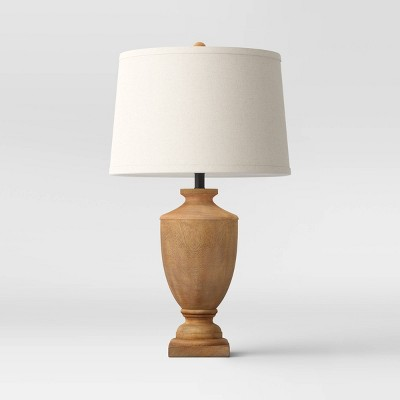 Large Wood Urn Assembled Table Lamp (Includes LED Light Bulb)Brown - Threshold™