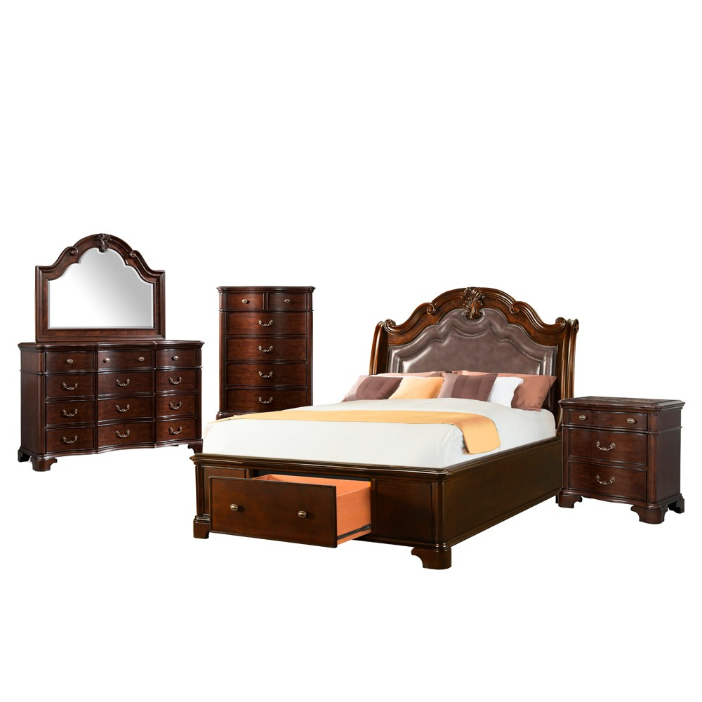 5pc Tomlyn King Storage Bedroom Set Dark Cherry - Picket House Furnishings, Beige