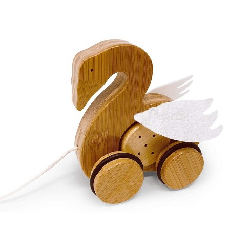 Kinderfeets Kids Rolling Bamboo Push and Pull Animal Toy for Toddlers and Children with Pull String, Swan - image 1 of 4