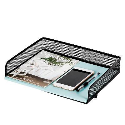 Mesh Stacking Letter Tray with Wide Side Opening Black - Made By Design™