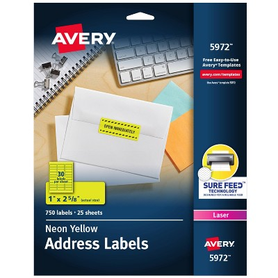 Avery 1 x 2-5/8 High-Visibility Laser Labels- Neon Yellow (750 per Pack)
