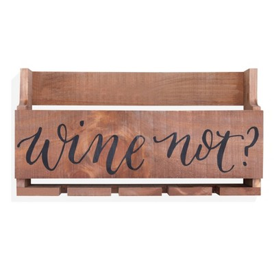 "Wall Mount ""Wine Not?"" Quote Stemware Rack with Rustic Wood - Danya B."