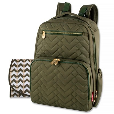 Fisher-Price Morgan Quilted Diaper Backpack - Olive