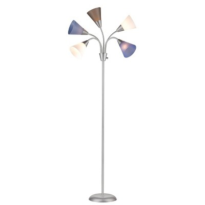 5 Head Floor Lamp Blue Shade with Silver Frame - Room Essentials™