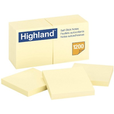 Highland Self-Stick Notes, 3 x 3 Inches, Yellow, Pad of 100 Sheets, pk of 12