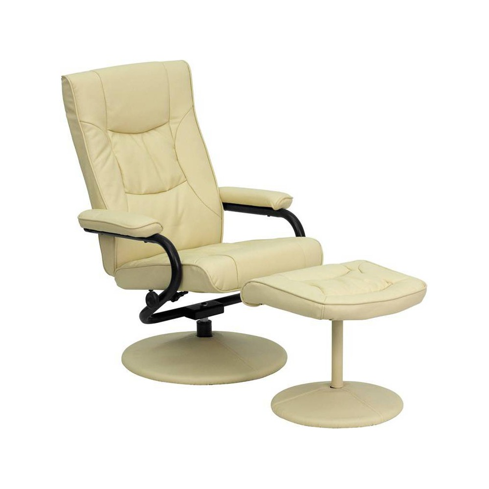 Image of 2pc Contemporary Multi Position Recliner/Ottoman Set Cream - Flash Furniture, Ivory