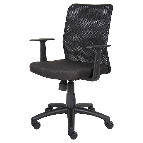 Budget Mesh Task Chair with T-Arms Black - Boss Office Products - image 1 of 4