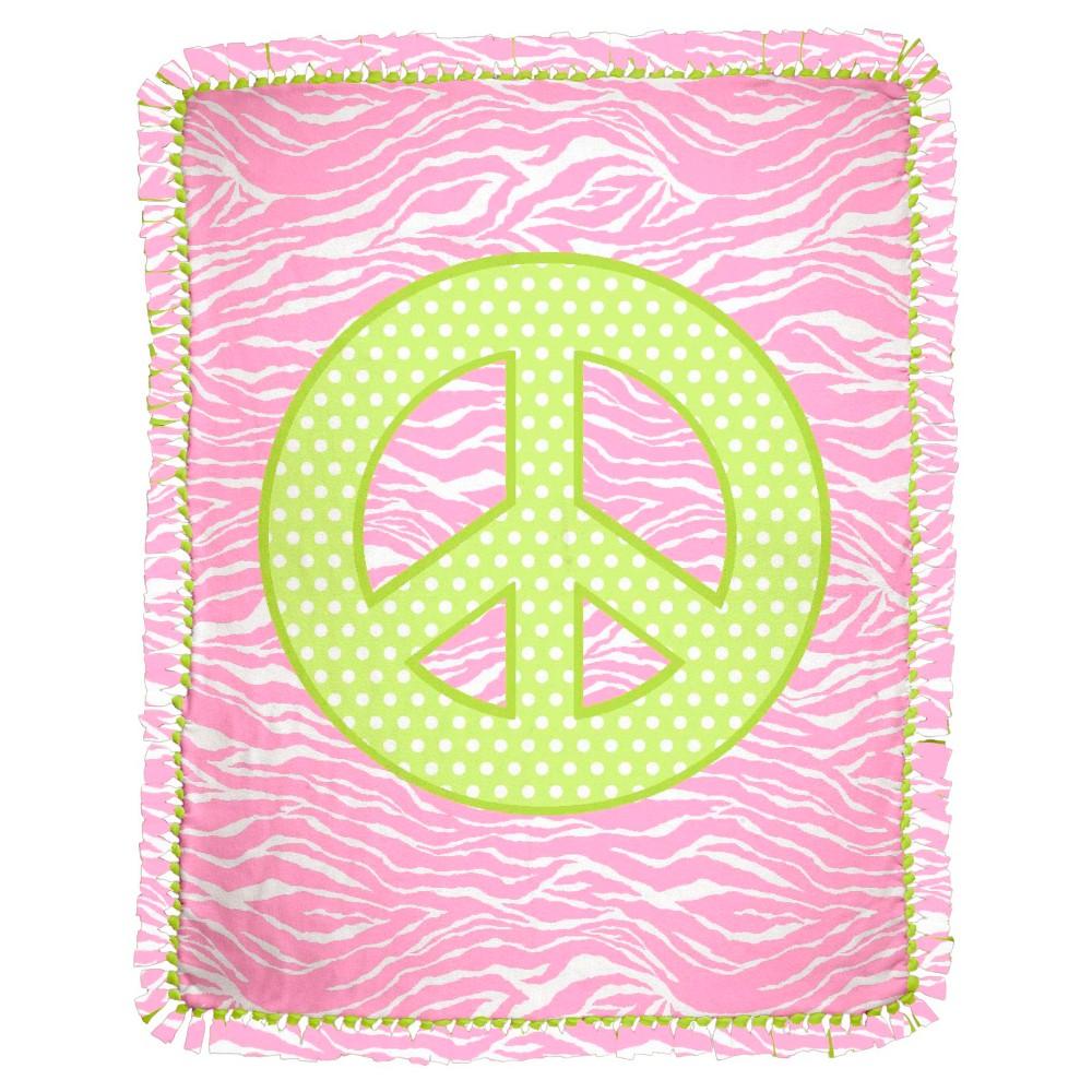 Peace Micro Fleece Throw Kit, Pink