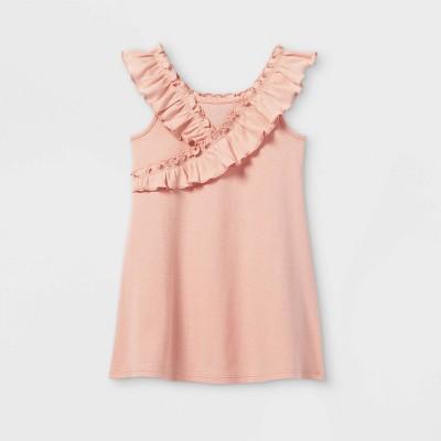 Toddler Girls' Ribbed Ruffle Tank Dress - art class™