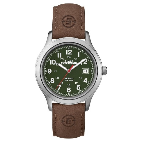 Men's Timex Expedition® Field Watch with Leather Strap - Silver/Green/Brown T40051JT - image 1 of 1