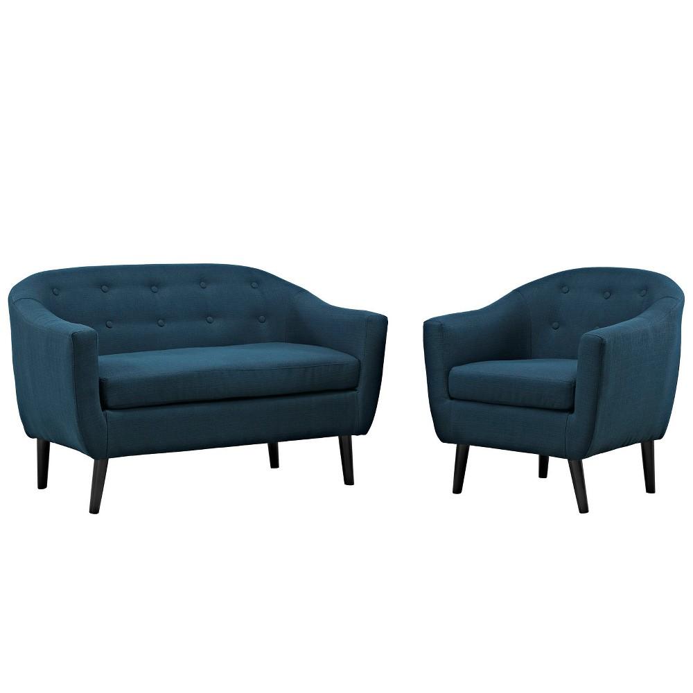 Wit 2pc Living Room Set Azure (Blue) - Modway