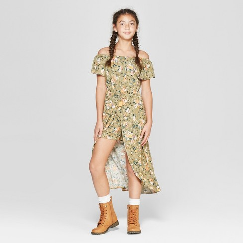 894b293c556 Girls  Floral Off The Shoulder Floral Walk Through Romper - art class™ Olive  Green