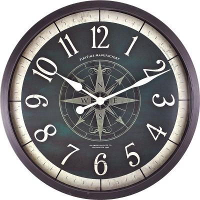 FirsTime Compass Rose Wall Clock Bronze
