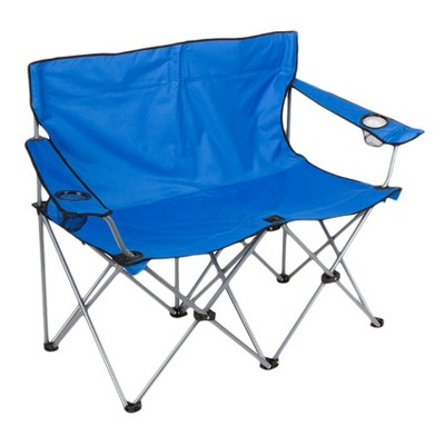 Trademark Innovation Loveseat Style Double Camp Chair with Carrying Case and Steel Frame - Blue