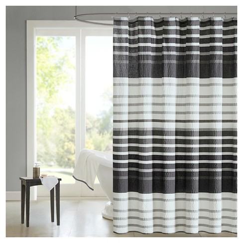Mosaic Stripes Shower Curtain Gray Target
