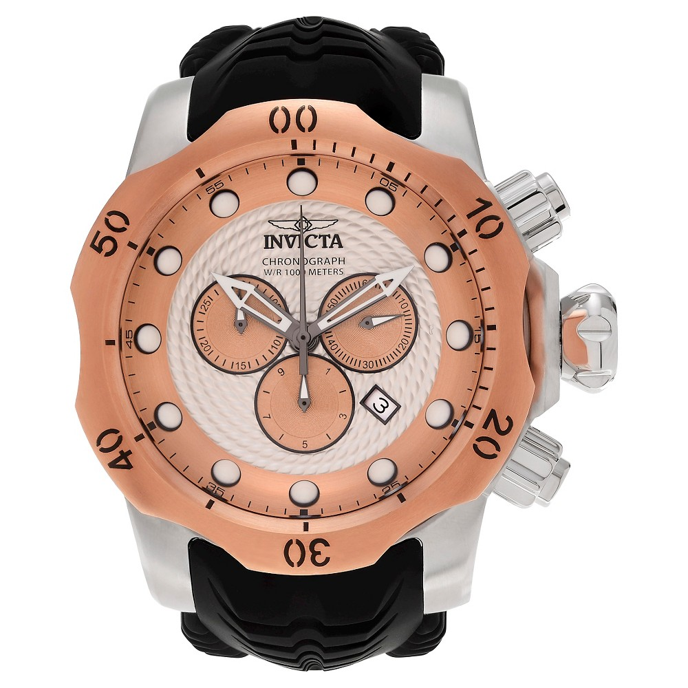 Men's Invicta 20442 Venom Quartz Chronograph Rose Gold Dial Strap Watch - Black