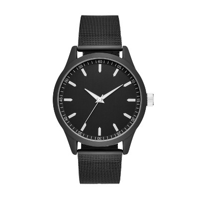Men's Rubberized Case Mesh Strap Watch - Goodfellow & Co™ Black