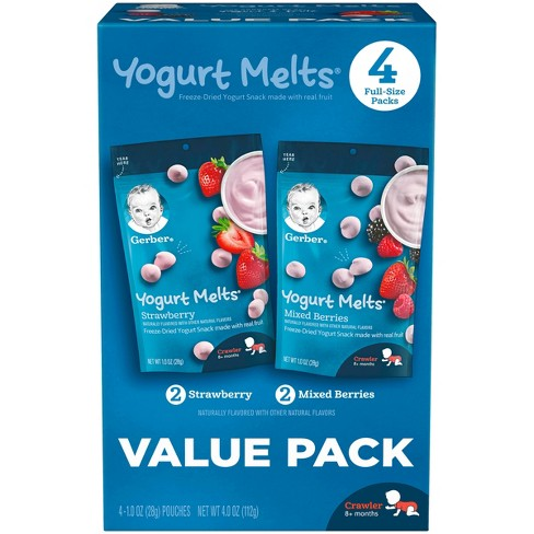 Gerber Yogurt Melts Freeze-Dried Yogurt & Fruit Snacks Variety Pack Strawbery and Mixed Berries - 1oz/4ct - image 1 of 3
