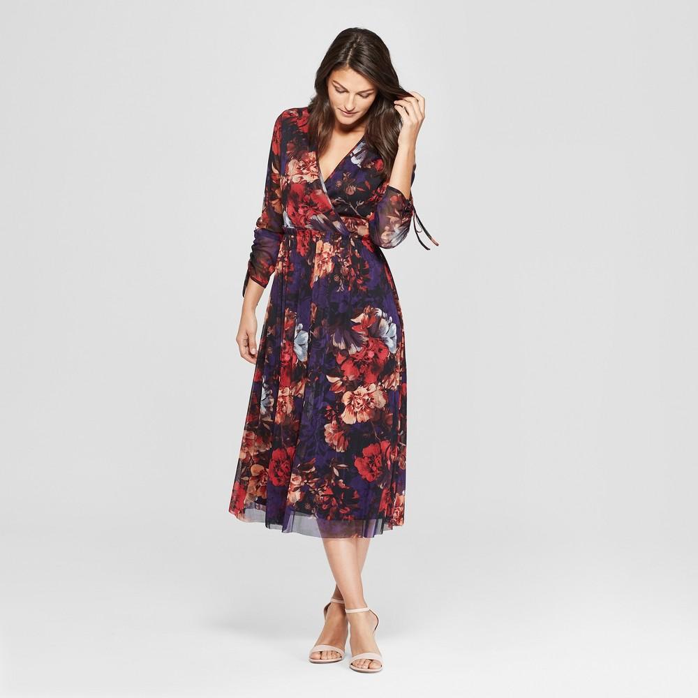 Women's Floral Print Mesh Midi Dress - Spenser Jeremy - Navy XL, Multicolored