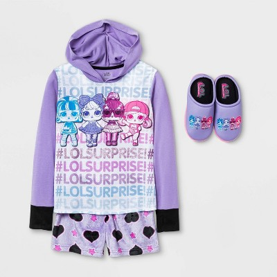 Girls' L.O.L. Surprise! Pajama Set with Slippers - Purple