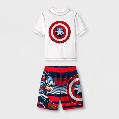 e86209efb6b Toddler Boys  Marvel Captain America Rash Guard Set - White Red   Target