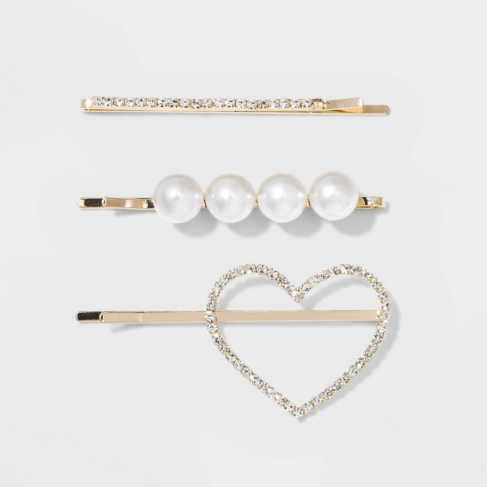 Image of Acrylic Pearls and Acrylic Crystal Rhinestone Multi Bobby Pin Set - Wild Fable Pearl