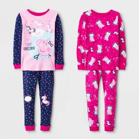 Toddler Girls' 4pc Peppa Pig Long Sleeve Pajama Set - Pink - image 1 of 1