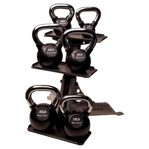 Body Solid Chrome Handle Rubber Kettlebell Set 5-30LBS with Rack - (KBCS105PAC) - image 1 of 1
