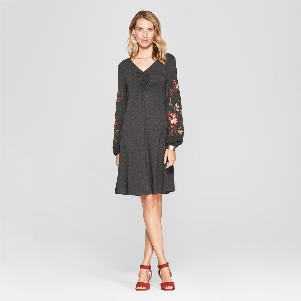 Women's Floral Print Bishop Sleeve Dress - Spenser Jeremy - Grey S, Gray