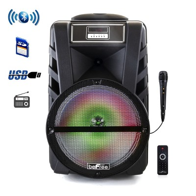 beFree Sound 12 Inch Bluetooth Rechargeable Portable PA Party Speaker