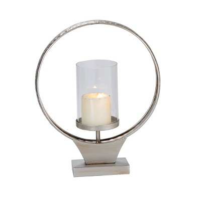 Hammered Metal Round Ring Pillar Candle Holder - Foreside Home & Garden