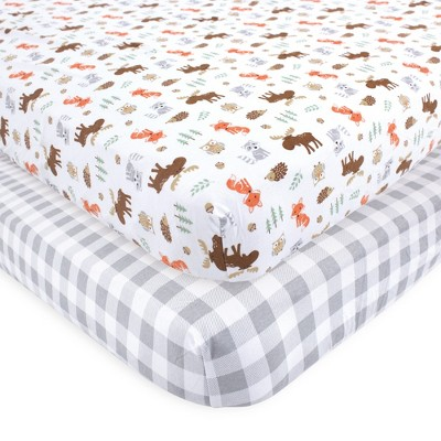 Hudson Baby Infant Boy Cotton Fitted Crib Sheet, Woodland, One Size