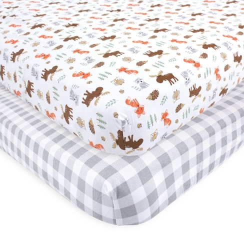 Hudson Baby Infant Boy Cotton Fitted Crib Sheet, Woodland, One Size - image 1 of 1