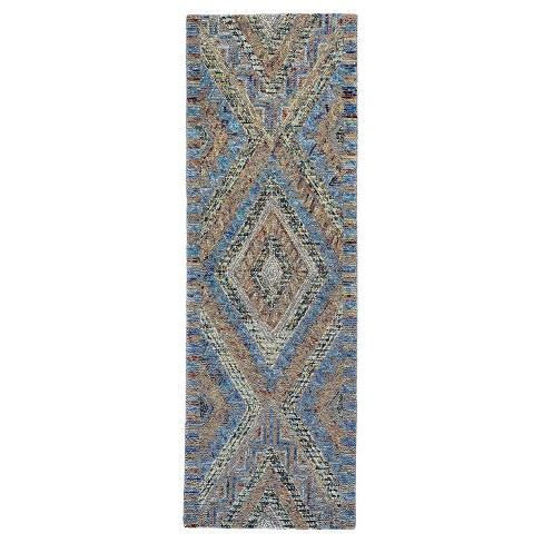 2 6 X8 Rectangle Geometric Wool Area Rug Blue Feizy Target