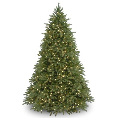 7.5ft National Tree Company Full Pre-Lit Feel Real Jersey Fraser Fir Deluxe Hinged Artificial Tree with 1500 Dual Color LED Lights with PowerConnect