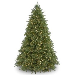 National Tree Company Full 7.5ft Pre-Lit Feel Real Jersey Fraser Fir Deluxe Hinged Artificial Tree with 1500 Dual Color LED Lights with PowerConnect