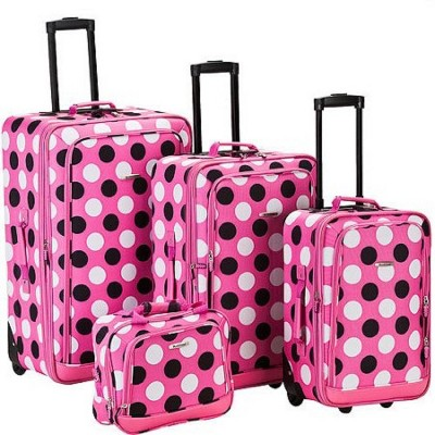 Rockland Escape 4pc Luggage Set - Pink