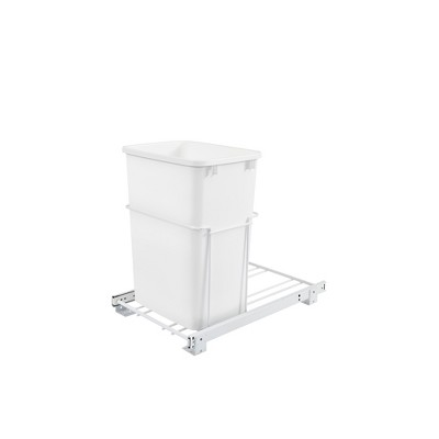 Rev-A-Shelf RV-18PB-1 Single 35 Quart Pull-Out Sliding Waste Container Garbage Recycling Trash Bin for Kitchen Base Cabinet, White