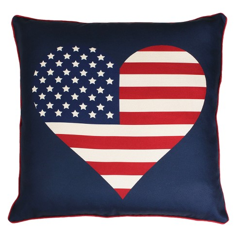 "Décor Therapy 20""x20"" Heart Flag Reversible Plaid Printed Faux Linen Throw Pillow Blue - image 1 of 2"