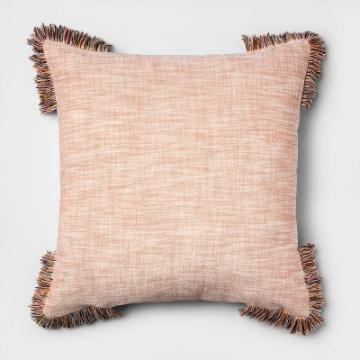 Coral Chambray Corner Fringe Euro Throw Pillow - Opalhouse™