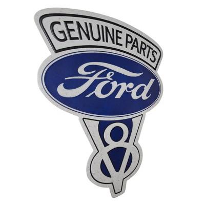 Vintage Ford V8 Genuine Parts Embossed Metal Sign Dark Blue - Crystal Art Gallery