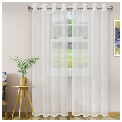 Embroidered Lightweight Sheer Scroll 2-Piece Curtain Panel Set with Stainless Grommet Header - Blue Nile Mills