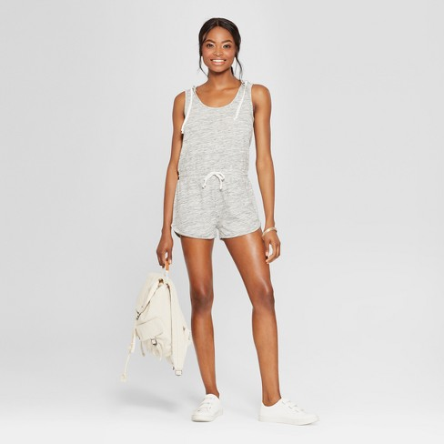 Women's Sleeveless Hooded Romper - Grayson Threads (Juniors') Heather Gray - image 1 of 2