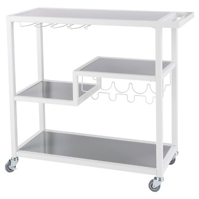 Zephs Bar Cart White With Smoky Gray - Holly & Martin