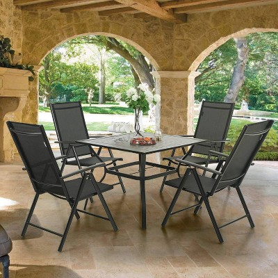 5pc Patio Dining Set with Square Metal Table with Umbrella Hole and Foldable Sling Chairs - Captiva Designs